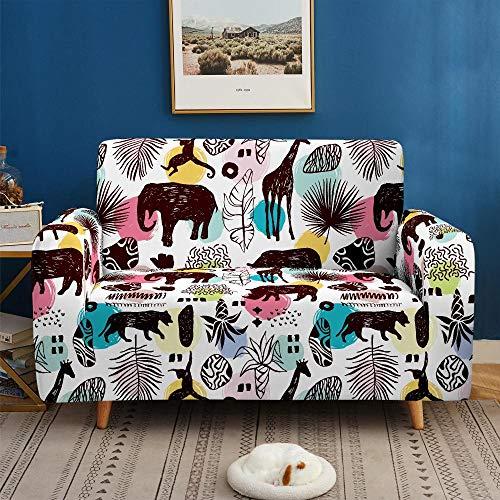 Funda de sofá de 2 Plazas Funda Elástica para Sofá Poliéster Suave Sofá Funda sofá Antideslizante Protector Cubierta de Muebles Elástica Animales de Colores Funda de sofá