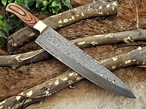 Damascus Steel Blade Kitchen Knife, 13 Inches Long Chef Knife with 2 Tome Brown Wood and Brass Bolster Scale, 8.5 Inches Long Cutting Edge