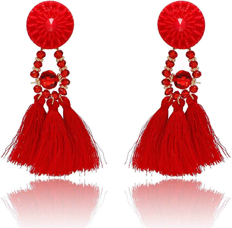Dana Carrie Stylish earrings long, female retro black Bohemiasu earrings temperament ears ear fall into the red