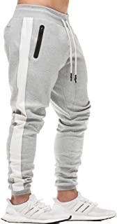 EVERWORTH Men's Gym Workout Stripe Jogger Pants Slim Fit Tapered Sweatpants Running Track Pants with Zipper Pockets