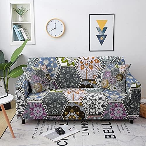 Funda elástica con diseño de Mandala, Funda de sofá elástica seccional para Sala de Estar, Funda de sofá seccional A6, 3 plazas