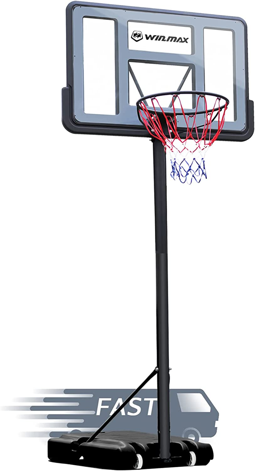 WIN.MAX Portable Basketball Hoop Goal System 4.8-10ft Adjustable 44in Backboard for Kids/Adults Indoor Outdoor : Sports & Outdoors