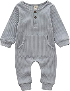young Forever Unisex Baby Cotton Stripes Footies Button Front One Piece Romper Jumpsuit Pajamas Outfits