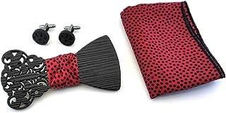 Set Papillon gemelli in legno, fazzoletto da taschino GIGETTO rosso pois nero Made in Italy