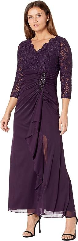 Petite Long A-Line Empire Waist Dress with Surplice Neckline