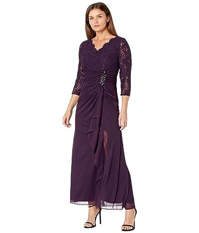 Alex Evenings Petite Long A-Line Empire Waist Dress with Surplice Neckline