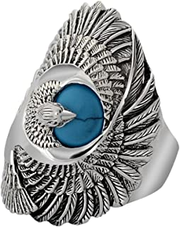 MetJakt Punk Rock 925 Sterling Silver Ring with Natural Turquoise Hand Carved Eagle Wing Rings for Unisex