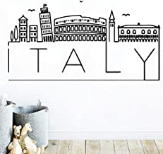 TYLPK Diy Art Italy Mapa Etiqueta de la pared Accesorios para la decoración del hogar Calcomanías de vinilo Decoración Pegatinas Murales Vinilo Decorativo Muursticker Azul L 42cm X 80cm