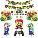 Globos Super Mario Bros Cumpleaños Globos Adorno de Torta Super Mario Decoración Fiesta de Cumpleaños Super Mario Pancarta Cumpleaños Super Mario
