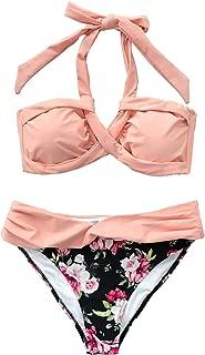 Women's Peachy Pink Halter Bikini Set Floral Print Bottom Swimsuit