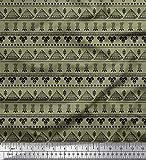 Soimoi Grun Samt Stoff Damast & Pyramiden afrikanisch Stoff