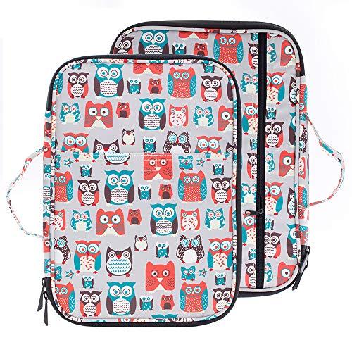 "Lazyaunti New Zipper Portfolio Organizer A4 Note Pouch-Waterproof Document Bags/Zipper Binder/Paper Case for 13.3"" Mac,Tablet,Pens,washi Tape,Journals,Sketch Books (Grey Owl (Grey Owl)"