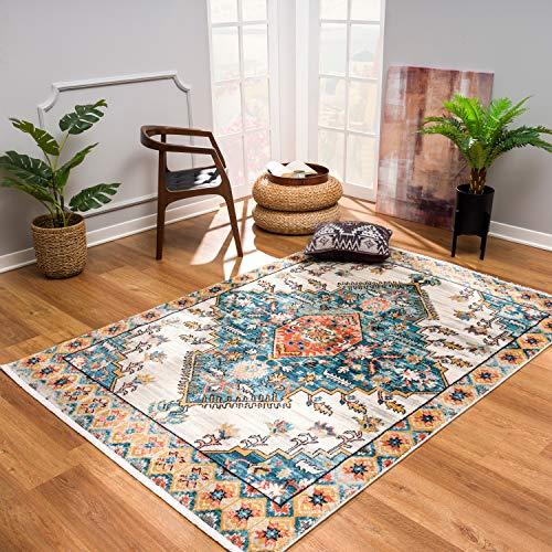 Teppiche Wohnzimmer - Vintage Ornamente 120x170 cm Blau Rot Beige - Teppich Öko-Tex 100 geprüft
