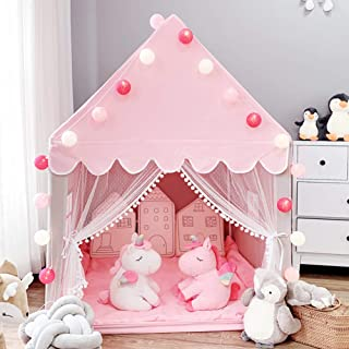 Kids Play Tent for Girls Princess Castle Large Playhouse Children Fairy Play Castle Tent Toys Gift Indoor & Outdoor, Pink