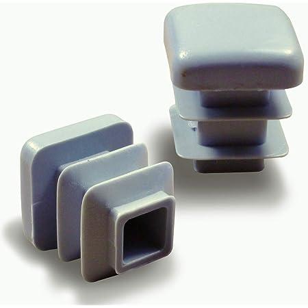 ajile - 12 piezas - Contera acanalada para tubo cuadrado 16 x 16 mm - GRIS - EPC316