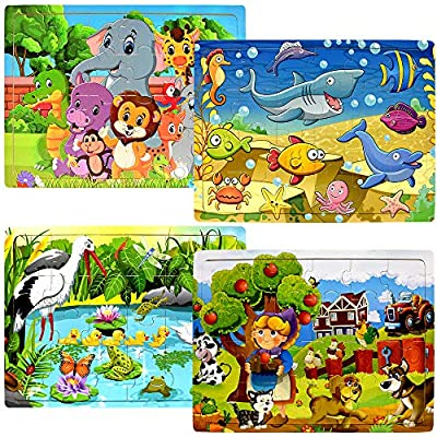 Wooden Puzzles for Kids Ages 2-5 - 24 Piece Puzzle for Toddlers Preschool Kids Jigsaw Puzzles - 4 Pack Vibrant Children Theme Learning Educational Puzzle Set for Kids 2 3 4 5 Year Old by Blppldyci