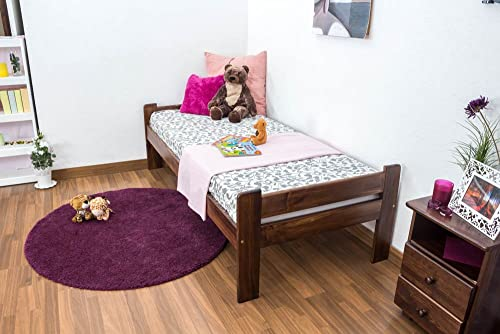 Kinderbett   Jugendbett Kiefer Vollholz massiv Nussfarben A20, inkl. Lattenrost - Abmessung 90 x 200 cm