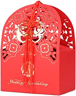 10 Pcs Red Laser Cut Chinese Style Wedding Candy Box Double Happiness Party Favor Paper Box