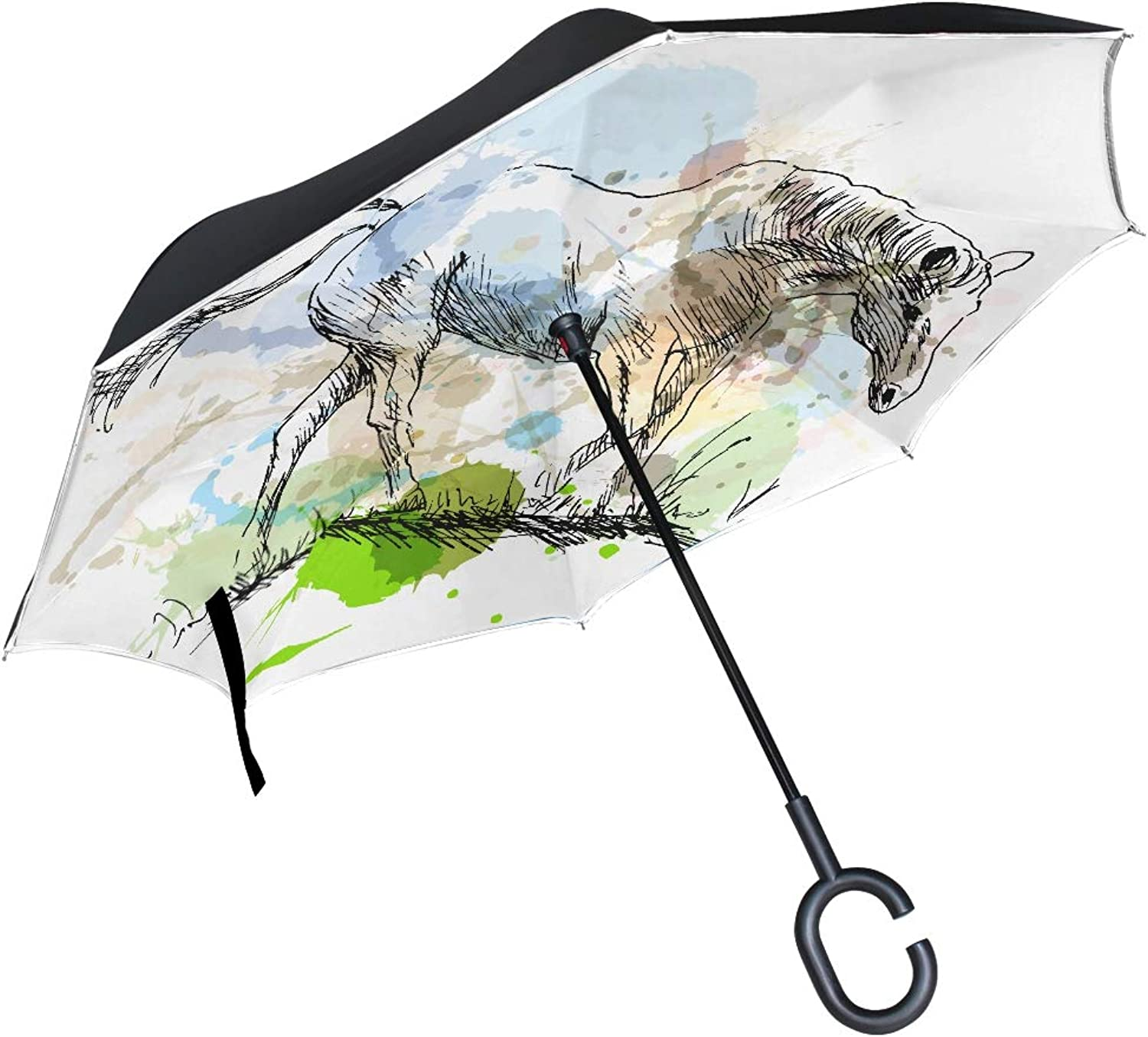 Double Layer Ingreened colord Hand Sketch White Horse Vector Umbrellas Reverse Folding Umbrella Windproof Uv Predection Big Straight Umbrella for Car Rain Outdoor with CShaped Handle