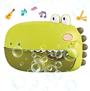REMOKING Baby Bubble Bath Toys,Automatic Dinosaur Bubble Machine with 12 Nursery Rhymes,Fun Toddler Bath Time Toy for Bath...