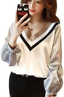 [1/2style (ニブンノイチスタイル)] v ネックtシャツ 長袖 ストライプ しろ くろ プルオーバー シャツ ニット レディース M,L,XL,XXL