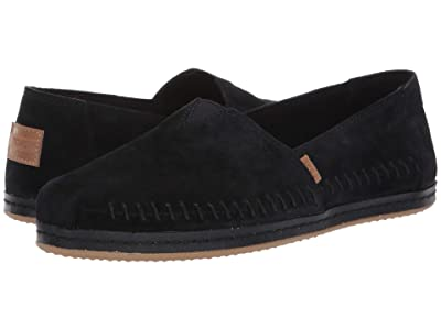 TOMS Alpargata Leather Wrap (TOMS Black Pig Suede Leather Wrap) Women