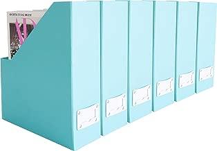 Blu Monaco Foldable Aqua Magazine File Holder with Leather Label Holder - Set of 6 - Cardboard Magazine File Boxes Desk File Organizer
