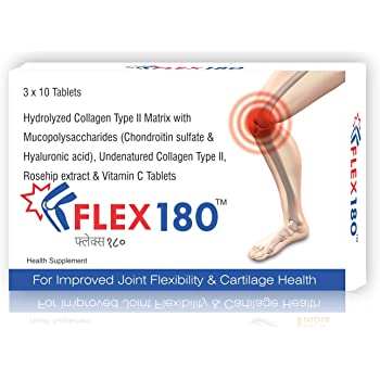Trexgen FLEX180 Advanced Total Joint Pain and Cartilage Repair-Matrix Collagen Type 2, Undenatured 40 mg , Chondroitin 100 Mg, Hyaluronic Acid 50 Mg, Rosehip 375 Mg and Vit.C 200 Mg (1 Box x 30 Tab)