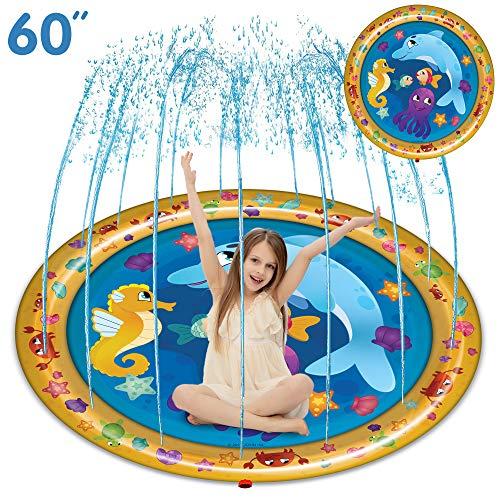 "JOYIN Sprinkle & Splash Play Mat, 60"" Outdoor Water Sprinkler Toys for Kids Toddlers Splash Pad"