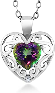 Gem Stone King 0.96 Ct Heart Shape Green Mystic Topaz 925 Sterling Silver Pendant with 18 inches Chain