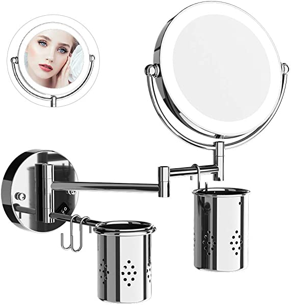 ElectriBrite Makeup Mirror With Lights And Magnification Wall Mounted Bathroom Shaving Mirror 7X Magnifying 8 Inch Double Sided 360 Swivel Extendable Lighted Mirrors