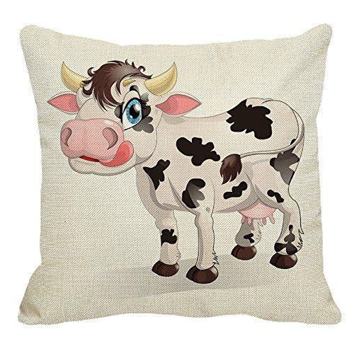 Pu Ran - Coussin décoratif de vache de bande dessinée - Tendance - Pour la maison - Taie d'oreiller pour couvrir canapé