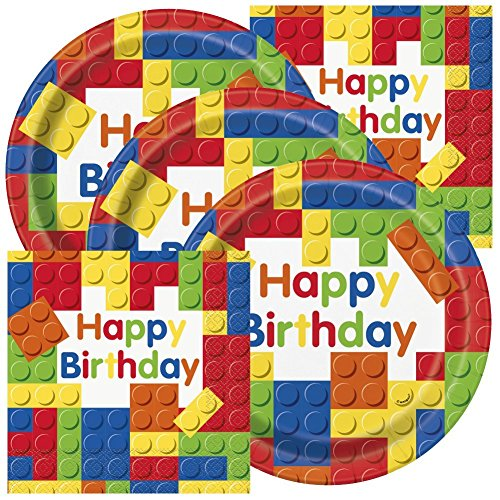 Colorful Building Blocks Birthday Party Plates and Napkins (Serves 32)