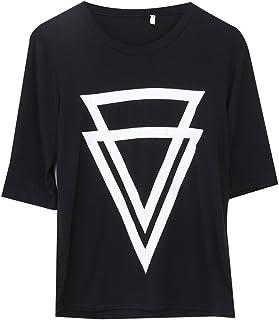 清新の 飾り窓 レディーズ 短い袖 逆三角形 パターン Tシャツ カットソー