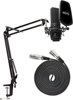 Movo VSM-7 XLR Microphone Bundle with Mic Boom Arm and...