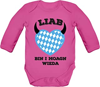 ShirtStreet Gaudi Wiesn Strampler Bio Baby Body Bodysuit langarm Jungen Mädchen Oktoberfest - Liab bin i moagn wieda