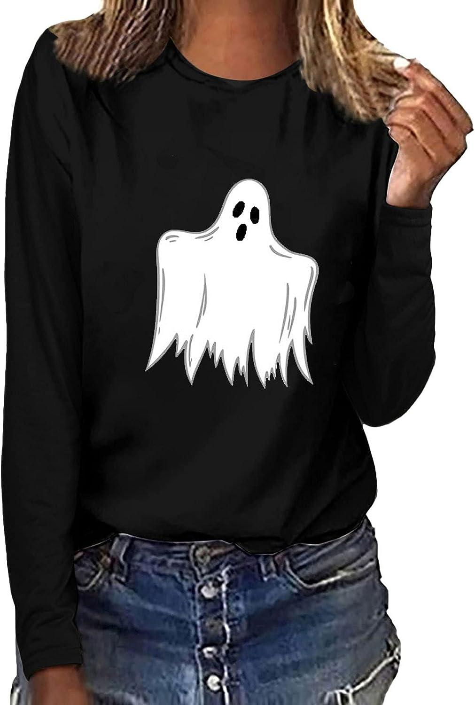 Fashion Womens Sweatshirts Funny Luminous Halloween Printed Blouses Tees O-Neck Long Sleeve T-Shirt Tops