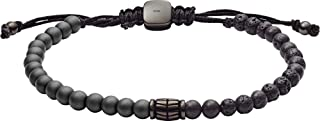 Fossil Men Cubic Zirconia Vintage Semi Precious Black Beaded Bracelet