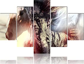 African American Wall Art Indian Warrior with Horse Paintings Chief of the Tribe Pictures 5 Panel Canvas Home Decor for Living Room,Giclee Artwork Framed Ready to Hang Posters and Prints(60''Wx40''H)