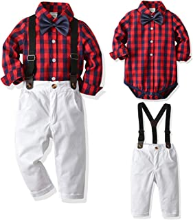 Newborn Baby Boys Gentleman Outfits Suits, Infant Romper Jumpsuit+Suspender Pants+Bow Tie Overalls Clothes Toddler 4Pcs Set