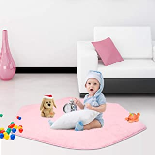 SUNBA YOUTH Pink Hexagon Pad Coral Soft Mat Rug Carpet for Kids Play Tent Playhouse (Thickness 1.2CM)