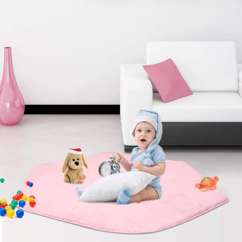 SUNBA YOUTH Pink Hexagon Pad Coral Soft Mat Rug Carpet For Kids Play Tent Playhouse Thickness 1 2CM