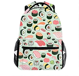 Food Sushi Casual Backpack, Fashion Cute Lightweight Backpacks for Teen Young Girls