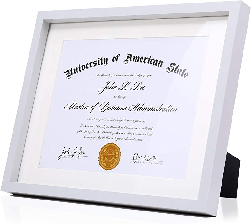 Modern Grey Diploma Frame Solid Wood 11x14 With Adhesive Wall Hooks Nail Hooks 2 White Mats Sized 8 5x11 Or 8x10 For Documents Degrees Certificate Photo Pictures Certification Tempered Glass