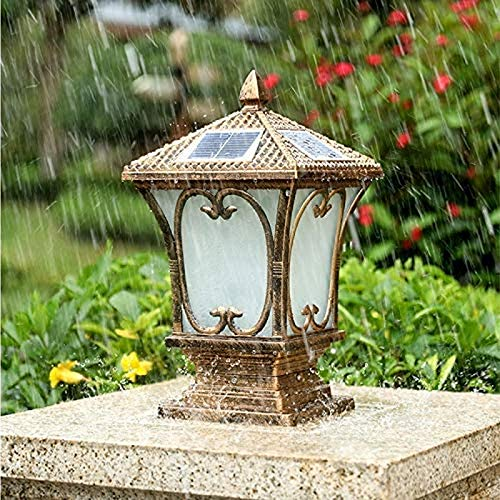 Creative Apple Column Lamp Solar Outdoor Garden Lamp Post Lamp Home Outdoor Waterproof Light Villa Fence Bronze Pillar Light (Size : M)