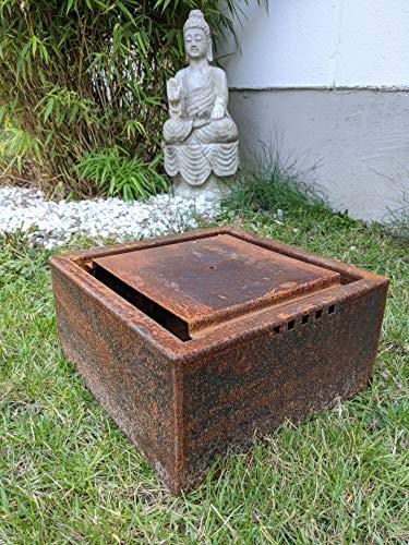 Zen Man Cortenstahl Garten Brunnen Edelrost Garten Wasserspiele mit Stein ca. 1,6mm Corten Stahl Handarbeit (032038-2: 40 * 40 * 15cm 6,75kg)