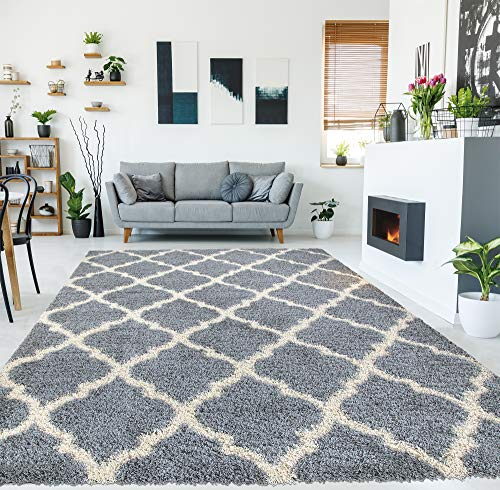 Ottomanson Collection Trellis Shag Rug, 7'10' x 9'10', Gray, 9...
