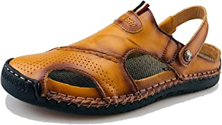 Mens Closed Toe Casual Leather Strap Athletic Beach Outdoor Adjustable Sandals Fisherman Shoes