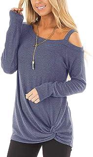 Abravo Mujer Camiesta Casual Anudada Asimétrica de Mangas Cortas con Hombros Descubiertos Color Sólido Tops