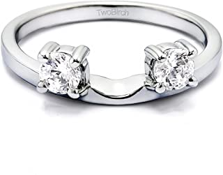 Diamond 3 Stone Round Prong Set Ring Wrap in 10K Gold GH I1I2(0.75Ct) Size 3 To 15 in 1/4 Size Interval